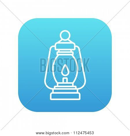 Camping lantern line icon for web, mobile and infographics. Vector white icon on the blue gradient square with rounded corners isolated on white background.