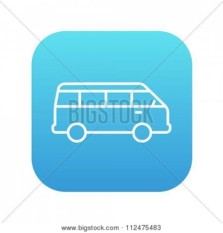 Minibus line icon for web, mobile and infographics. Vector white icon on the blue gradient square with rounded corners isolated on white background.