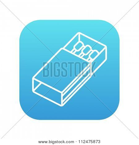 Matchbox line icon for web, mobile and infographics. Vector white icon on the blue gradient square with rounded corners isolated on white background.