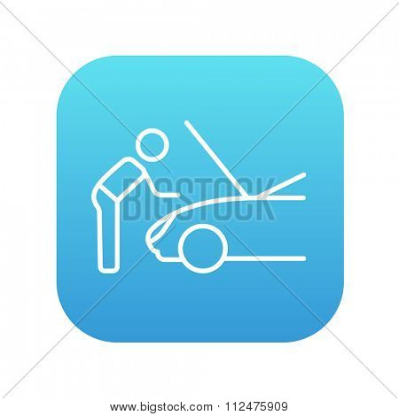 Man fixing car line icon for web, mobile and infographics. Vector white icon on the blue gradient square with rounded corners isolated on white background.