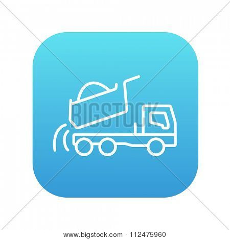 Dump truck line icon for web, mobile and infographics. Vector white icon on the blue gradient square with rounded corners isolated on white background.
