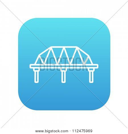 Rail way bridge line icon for web, mobile and infographics. Vector white icon on the blue gradient square with rounded corners isolated on white background.