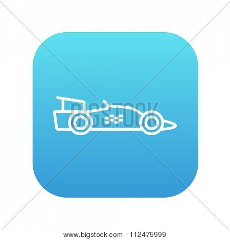 Race car line icon for web, mobile and infographics. Vector white icon on the blue gradient square with rounded corners isolated on white background.