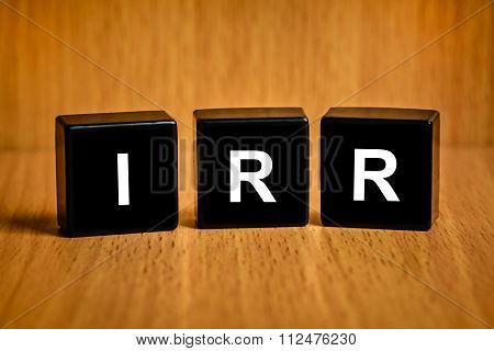 Irr Or Internal Rate Of Return Word On Black Block
