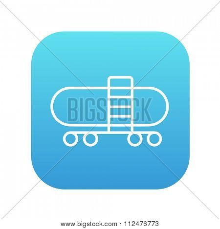 Railway cistern line icon for web, mobile and infographics. Vector white icon on the blue gradient square with rounded corners isolated on white background.