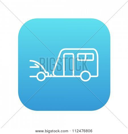 Car with caravan line icon for web, mobile and infographics. Vector white icon on the blue gradient square with rounded corners isolated on white background.