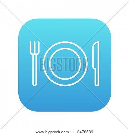 Plate with cutlery line icon for web, mobile and infographics. Vector white icon on the blue gradient square with rounded corners isolated on white background.