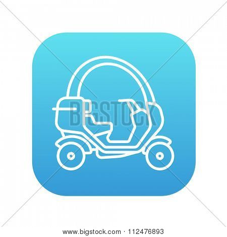 Rickshaw line icon for web, mobile and infographics. Vector white icon on the blue gradient square with rounded corners isolated on white background.