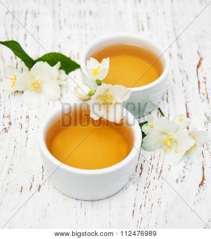 Cups Of Tea With Jasmine Flowers