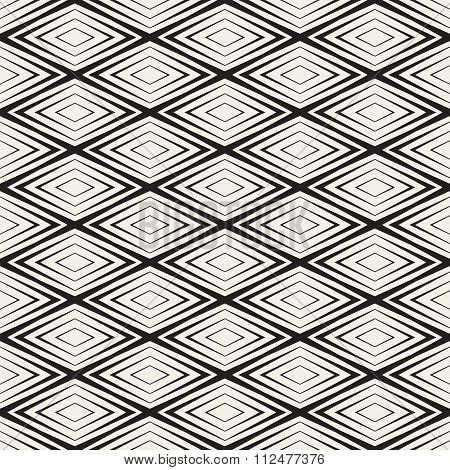 Vector Seamless Black And White Rhombus Shape Concentric Lines Geometric Pattern