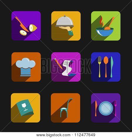 Kitchen vector icons set