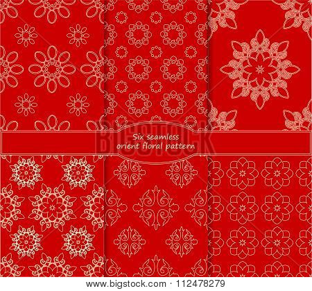 Set Of Stock Vector Seamless Doodle Floral Pattern.