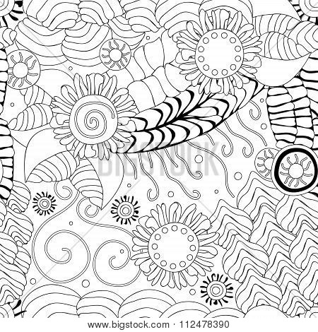 Stock Vector Seamless Doodle Wave Pattern. Black And White