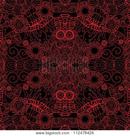 Stock Vector Seamless Doodle Red Wave Pattern.