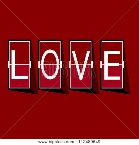 Love Font on mechanical panel letters. Typography font type vector for Happy Valentines day
