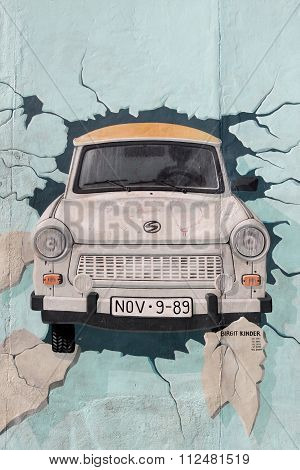 Painting of a Trabant at berlin wall, Germany