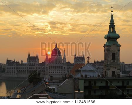 Parliament Building And Roofs Of Budapest