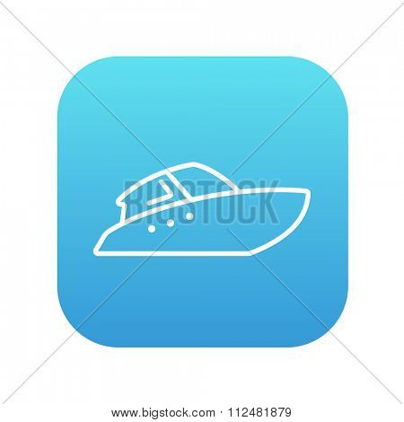 Speedboat line icon for web, mobile and infographics. Vector white icon on the blue gradient square with rounded corners isolated on white background.