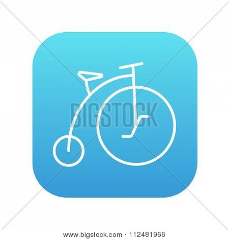Old bicycle with big wheel line icon for web, mobile and infographics. Vector white icon on the blue gradient square with rounded corners isolated on white background.
