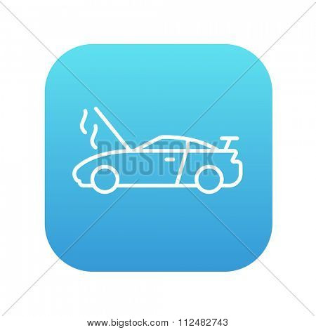 Broken car with open hood line icon for web, mobile and infographics. Vector white icon on the blue gradient square with rounded corners isolated on white background.