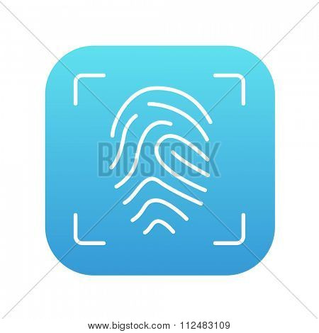 Fingerprint scanning line icon for web, mobile and infographics. Vector white icon on the blue gradient square with rounded corners isolated on white background.