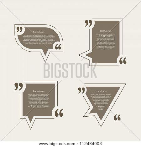 Quote mark speech bubbles set.