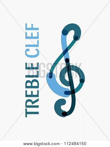 Modern logo in the shape of a treble clef.