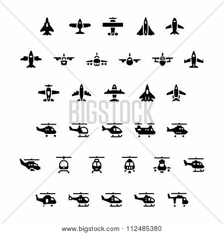 Set Icons Of Planes And Helicopters