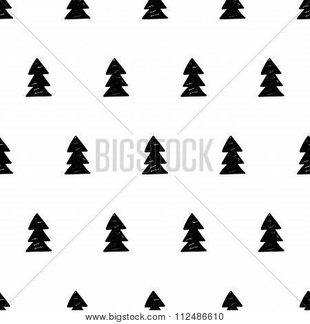 Vector Xmas Pattern With Xmas Trees. Scandinavian Style.