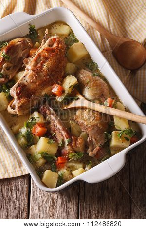 Homemade Chicken Stew With Vegetables Closeup. Vertical Top View