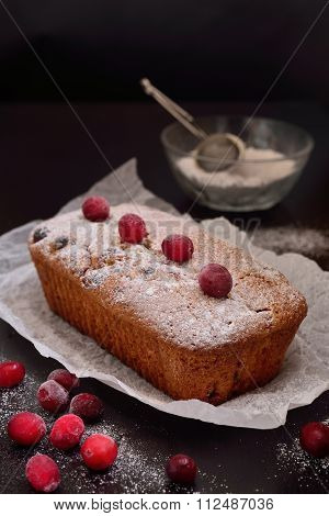 Cranberry Muffin On A Dark Background With White Kraft Paper