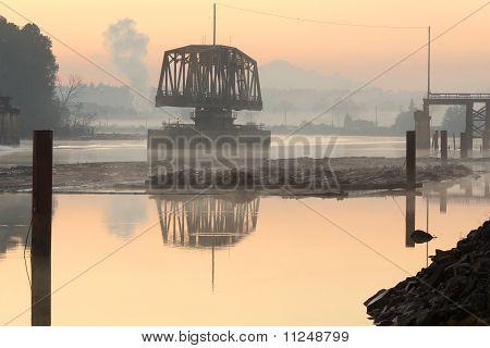 Fraser River Rail Bridge Dawn