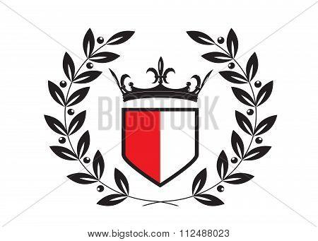 emblem crown and laurel wreath.