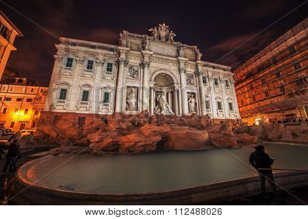 Rome, Italy: The Trevi Fountain at night