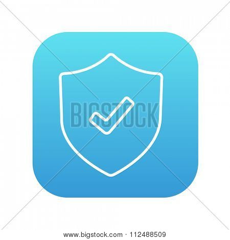 Shield with check mark line icon for web, mobile and infographics. Vector white icon on the blue gradient square with rounded corners isolated on white background.