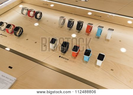 Khimki, Russia - December 22 2015. Apple watch in Mvideo large chain stores selling electronics and