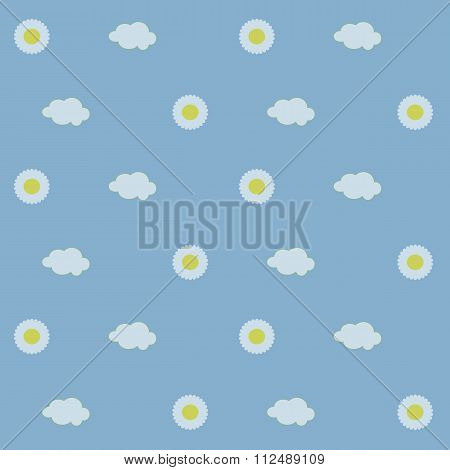 Seamless background, white daisies with yellow center, white clouds on a light blue background, sky,