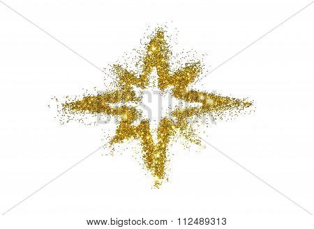 Abstract star of golden glitter sparkle on white background