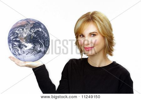 Beautiful Blonde Holding The Earth