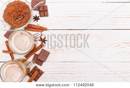 Hot cocoa drink. Background.