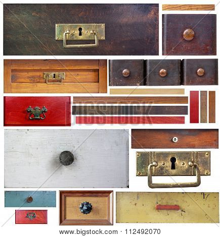Old Drawers, Wooden Strips And Escutcheons On White Background