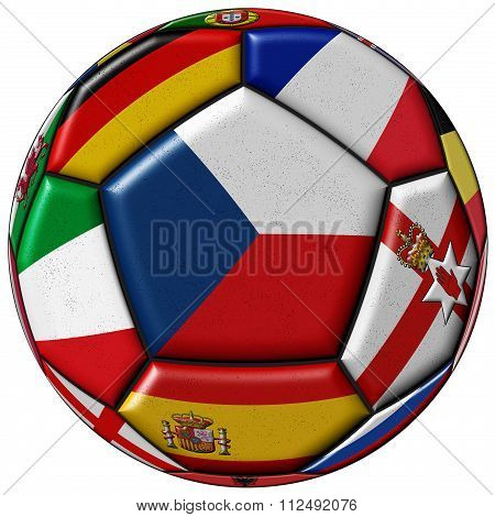 Soccer Ball With Flag Of Czech In The Center
