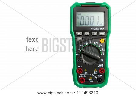 Digital Multimeter On White Close-up