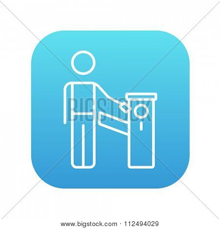 Man at car barrier line icon for web, mobile and infographics. Vector white icon on the blue gradient square with rounded corners isolated on white background.