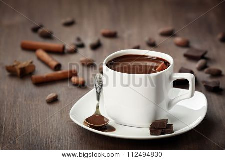 Cacao with chocolate and cinnamon on wooden table