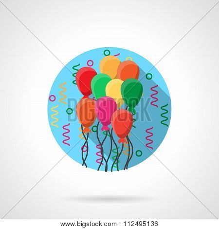 Colorful balloons round flat vector icon