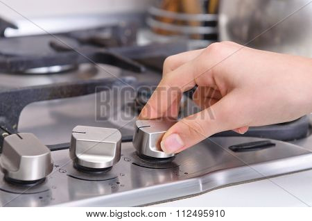 Gas stove in a kitchen