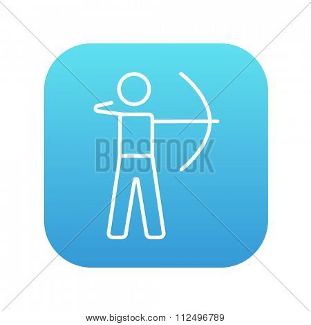 Archer training with the bow line icon for web, mobile and infographics. Vector white icon on the blue gradient square with rounded corners isolated on white background.