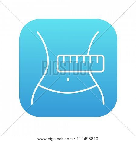 Waist with measuring tape line icon for web, mobile and infographics. Vector white icon on the blue gradient square with rounded corners isolated on white background.