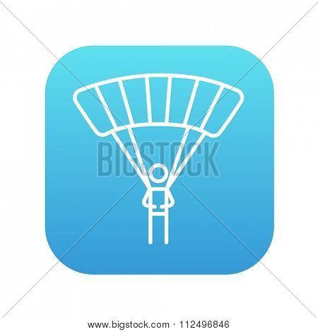 Skydiving line icon for web, mobile and infographics. Vector white icon on the blue gradient square with rounded corners isolated on white background.